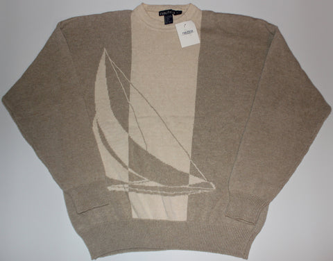 Nautica Sailboat Creme/Tan Knit Sweater NWT: M
