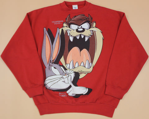 Vintage Taz and Bugs Bunny Red Crewneck : XL