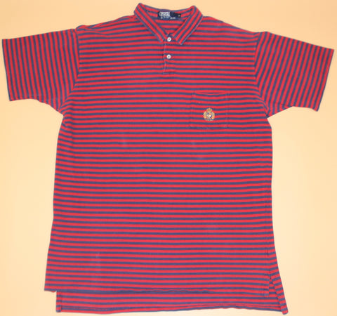 Vintage Polo Crest Navy/Red Striped Collared Shirt: XL