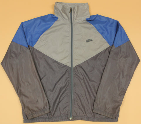 Vintage Nike Blue Tag Grey Windbreaker Jacket : L
