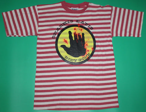 Custom Vintage Bootleg Body Glove Striped Graphic T-Shirt: M