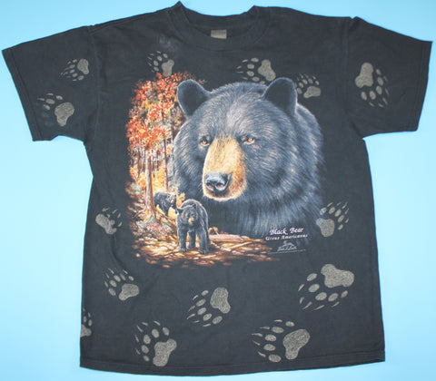Vintage 3D Emblem Black Bear Ursus Americanus All Over Print T-Shirt: XL