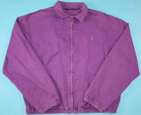 Vintage Polo Ralph Lauren Collared Purple Zip-Up Jacket: M