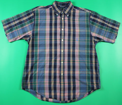 Nautica Pink/Blue/Green Button Up SS Shirt: M