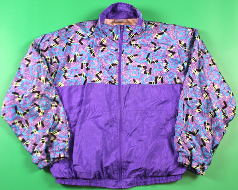 Vintages 90's Surf Purple/Crazy Print Windbreaker Jacket: S