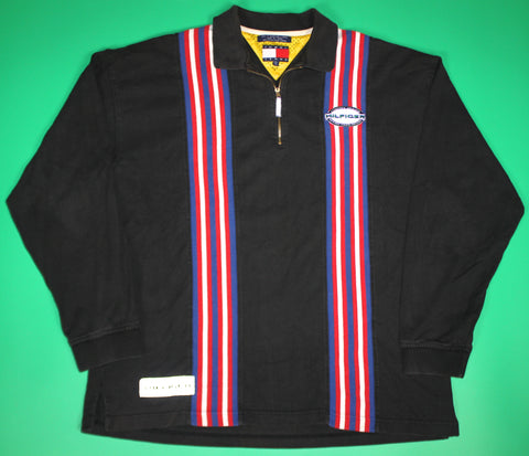 Vintage Tommy Hilfiger Striped Half-ZIp Polo Shirt: XXL
