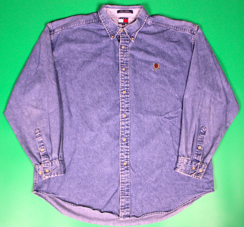 Vintage Tommy Hilfiger Denim LS Button Up Shirt: XL