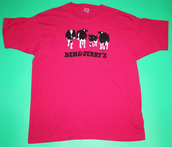 Vintage Ben And Jerry's Ice Cream Vermont's Finest Pink T-Shirt: XL