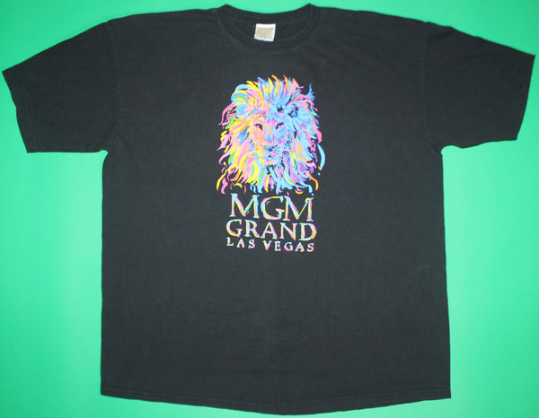 Vintage MGM Grand Las Vegas Rainbow Lion Black T-Shirt: 2XL