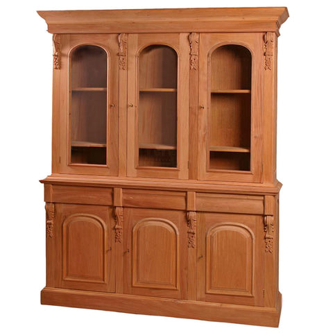 French Unpainted Bookcase 3 Display Doors, 3 Storage Doors