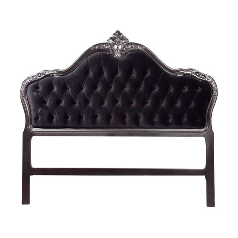 French Provincial Bed head Black with Black Velvet Upholstery- Single