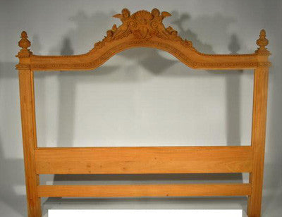 French Angel Unpainted Bed Head Frame for Upholstery