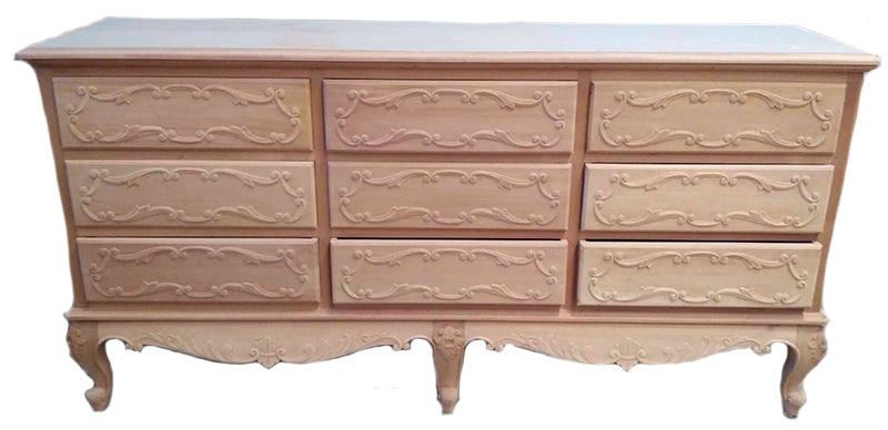 French Chest 9 Drawer Ornate Skirt and Drawer design