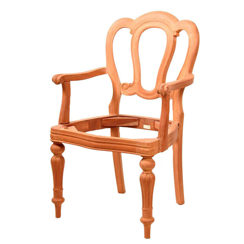 French Unpainted Admiralty Fluted Leg Dining Chair with Arms