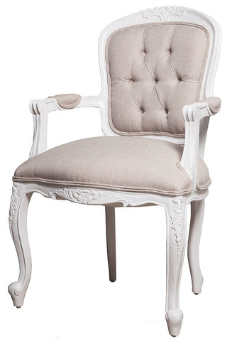 Lily Upholstered Back Arm Chair Linen Upholstery