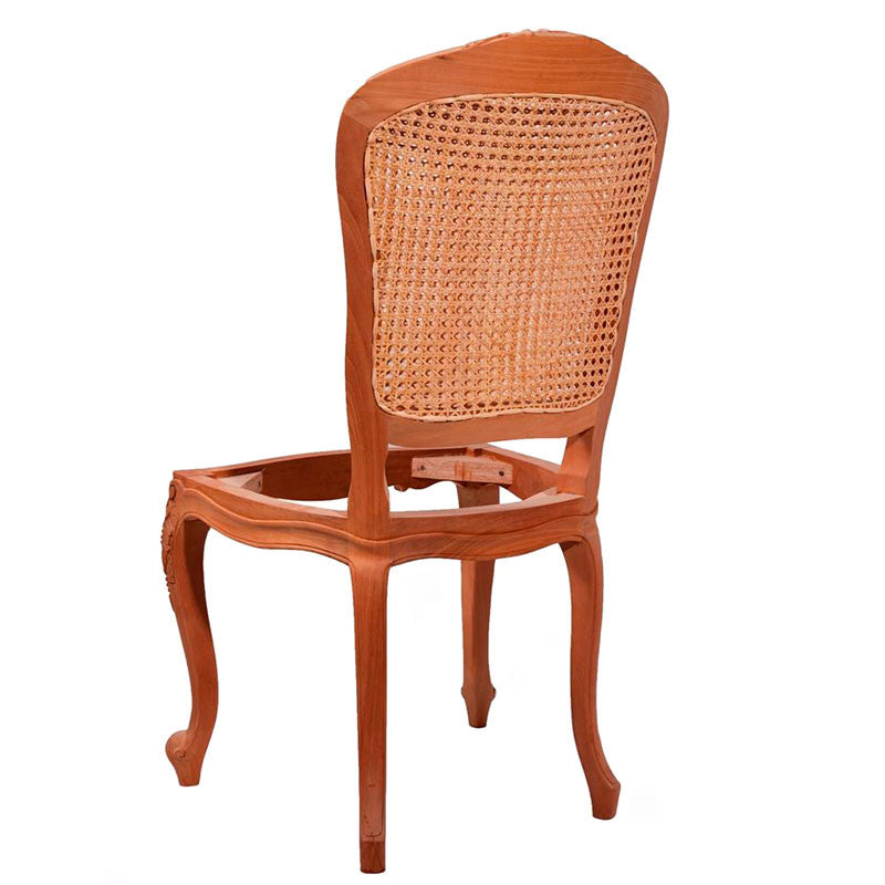 Lily Carved Cabriole Leg Dining Chair with Double Rattan Back
