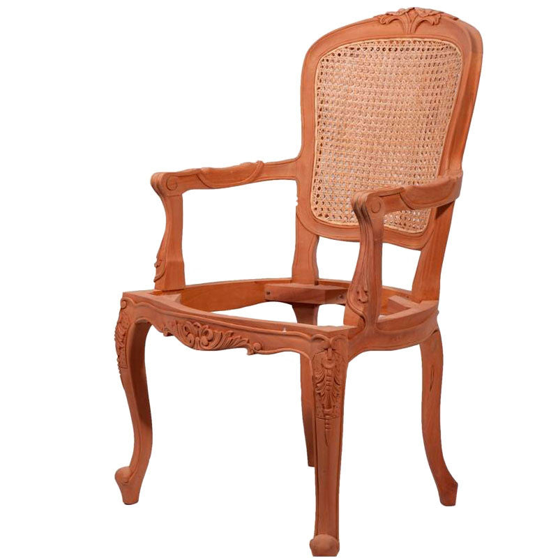 Lily Carved Cabriole Leg Dining Chair with Double Rattan Unpainted