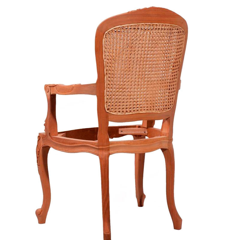 Lily Carved Cabriole Leg Dining Chair with Double Rattan Back Unpainted