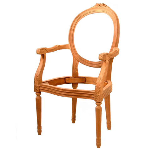 French Oval Carved Dining Chair Unpainted