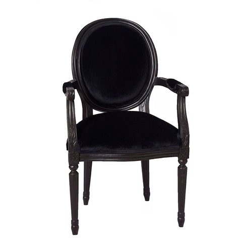 French Oval Arm Chair Black