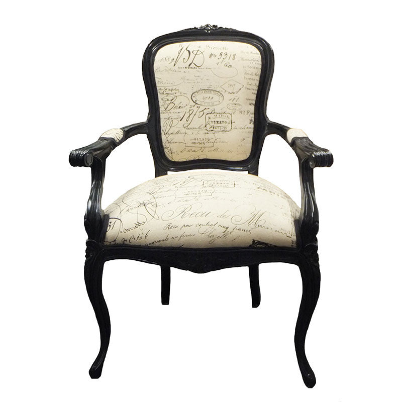 Lily upholstered back arm chair print fabulous french for Printed upholstered dining chairs