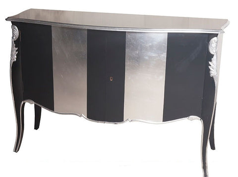 Chiffonier 2 Door - Black and Silver Leaf