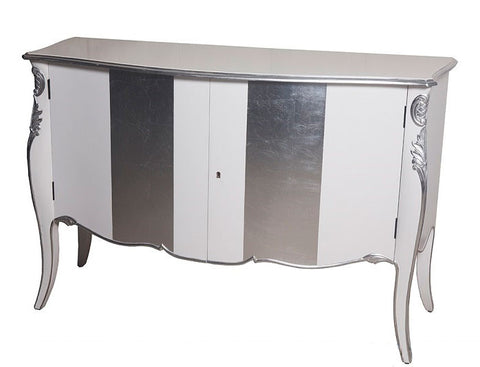Chiffonier 2 Door - White and Silver Leaf