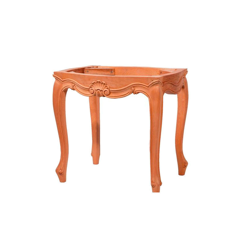 French Unpainted Ornate Foot Stool for Upholstery
