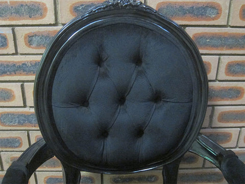 French Black and Suede Buttoned Chair