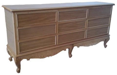 French Chest 9 Drawer Plain Drawer and Ornate Skirt design