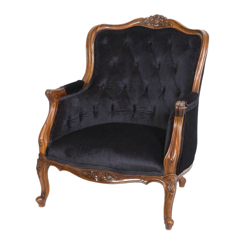 Louis Chair Black Velvet Upholstery