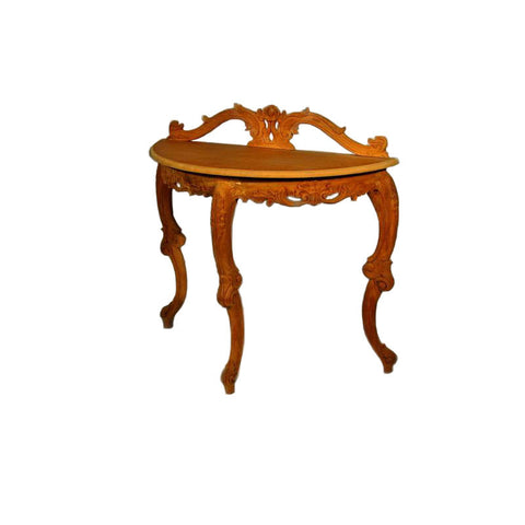 Hall Table with 3 Cabriole Legs & Carved Back