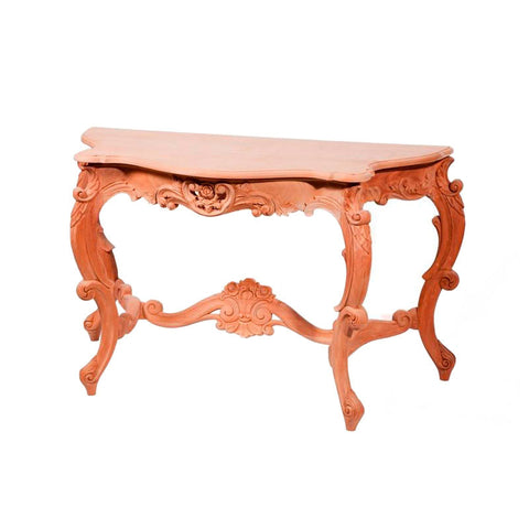 Rose Carved 4 Leg Console Table