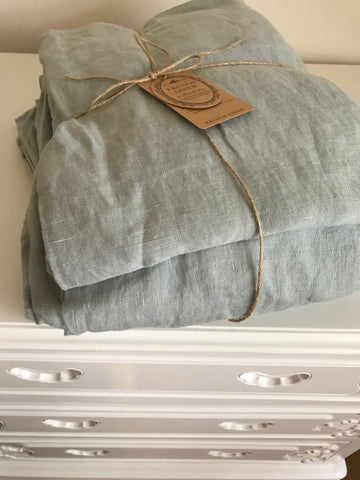 Pure French Linen Duck Egg Blue - King