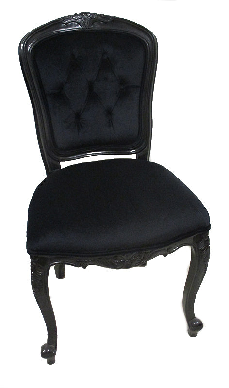Lily Upholstered Back Dining Chair Black Velvet