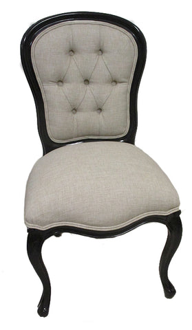 Buttoned Upholstered Back Dining Chair Black painted finish with Linen Upholstery