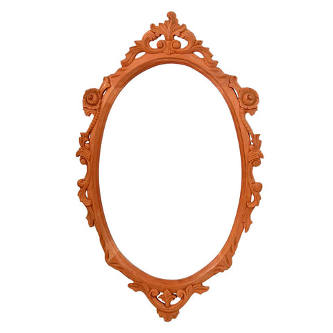 Oval Carved Mirror Frame with Bevelled Mirror