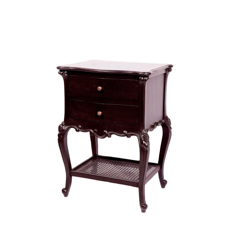 French 2 Drawer Bedside with Rattan Shelf Black