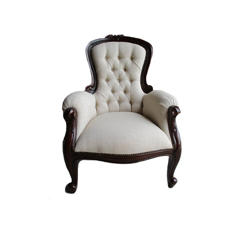 Polished Grandfather Chair with Linen Upholstery
