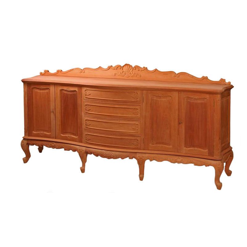 Serpentine Sideboard 4 Door with Key Locks Fitted Unpainted