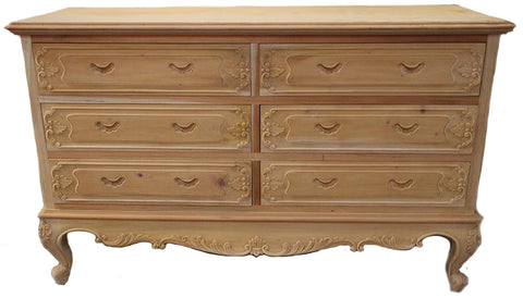 Serpentine French Chest 6 Drawer Ornate Skirt and Drawer design