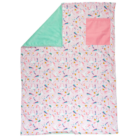 Stephen Joseph Kids Pink Unicorn All Over Print Toddler Blanket