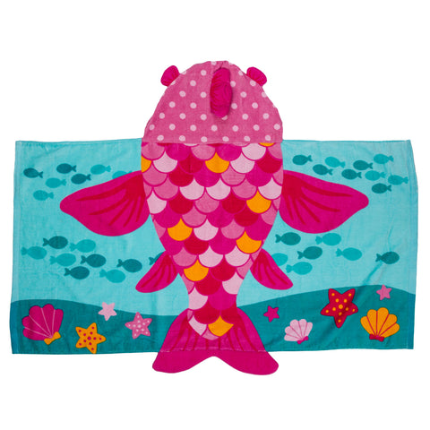 Kids Beach Towel with Hood Fish - Stephen Joseph