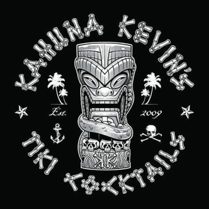 Kahuna Kevin's Tiki Cocktails Tiki mug logo with skulls, palm trees, pirate skull and ship anchor