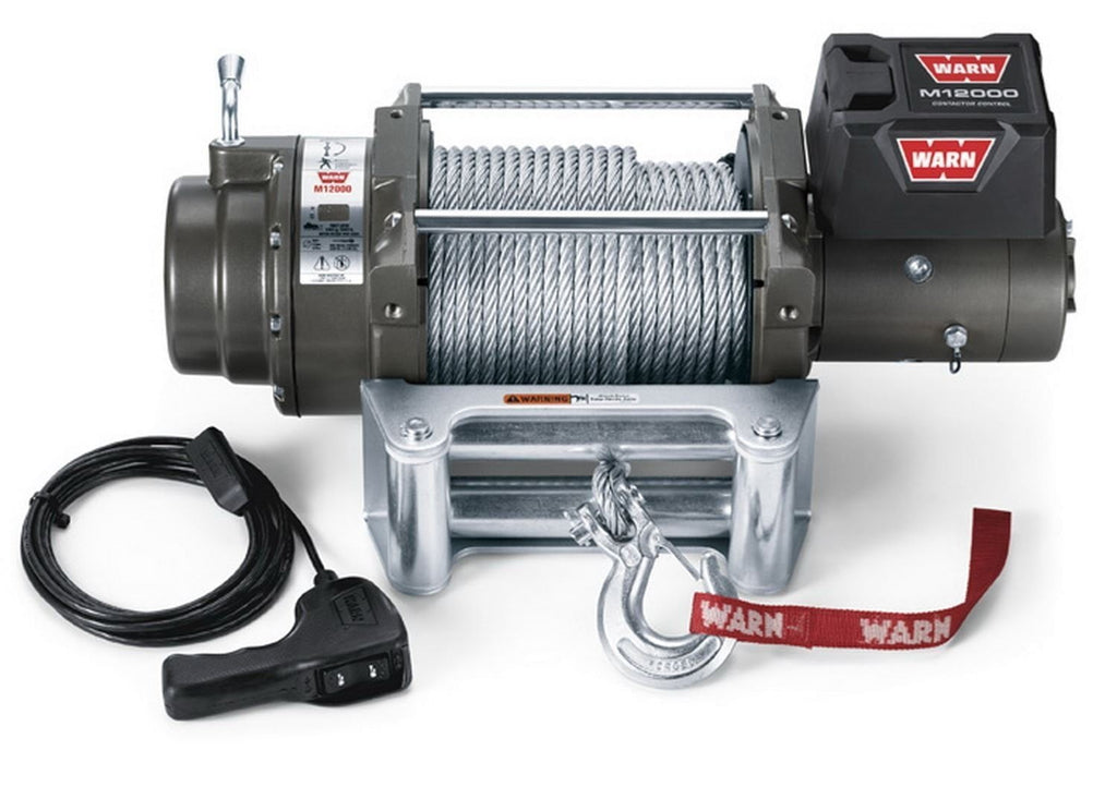 Warn 12v self recovery winch 38m wire rope, cem12000-87801
