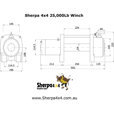 Image of Sherpa 4X4 Stallion - 25,000 lb Electric Winch