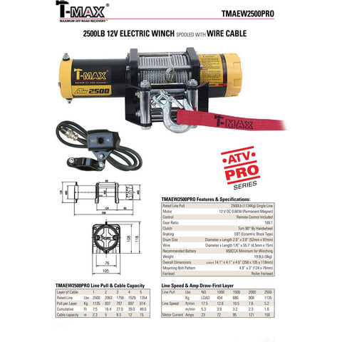 Image of TMAEW 2500LB 12V WINCH WITH WIRE ROPE/SYNTHETIC ROPE - Winchworld