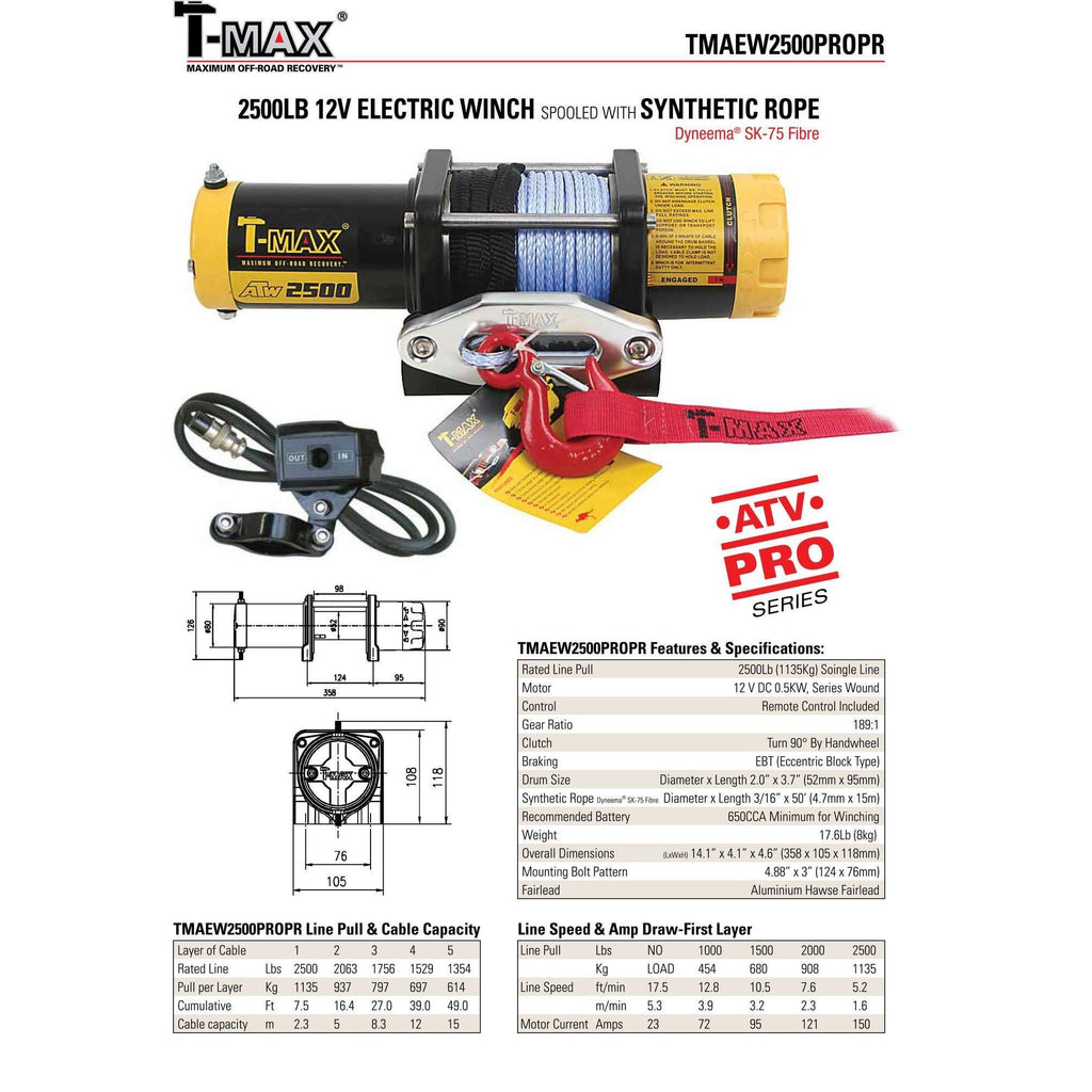 TMAEW 2500LB 12V WINCH WITH WIRE ROPE/SYNTHETIC ROPE - Winchworld