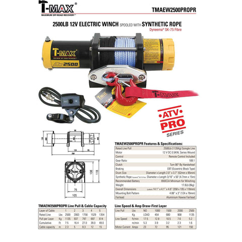 Tmax tmaew 2500lb 12v winch with wire rope/synthetic rope tmaew2500pro
