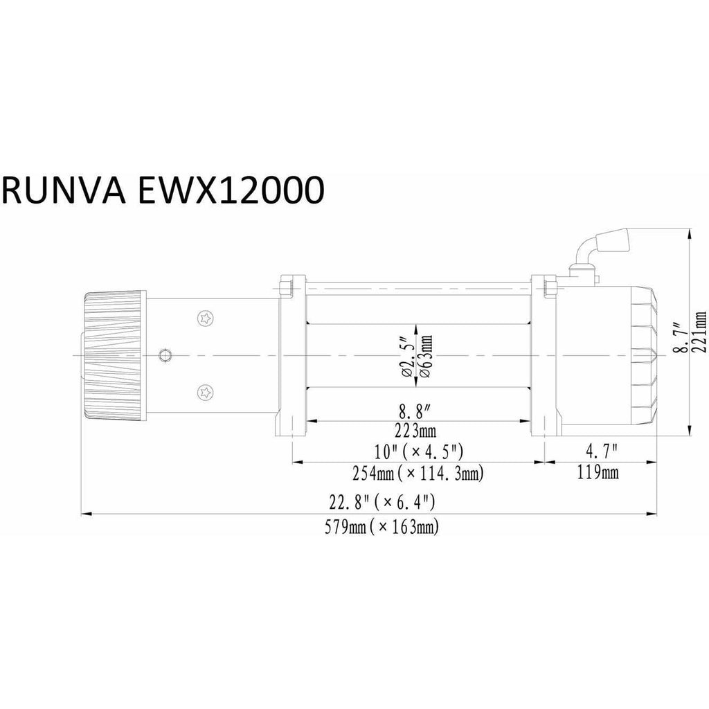 Runva EWX12000 24V with Synthetic Rope - IP67 Motor